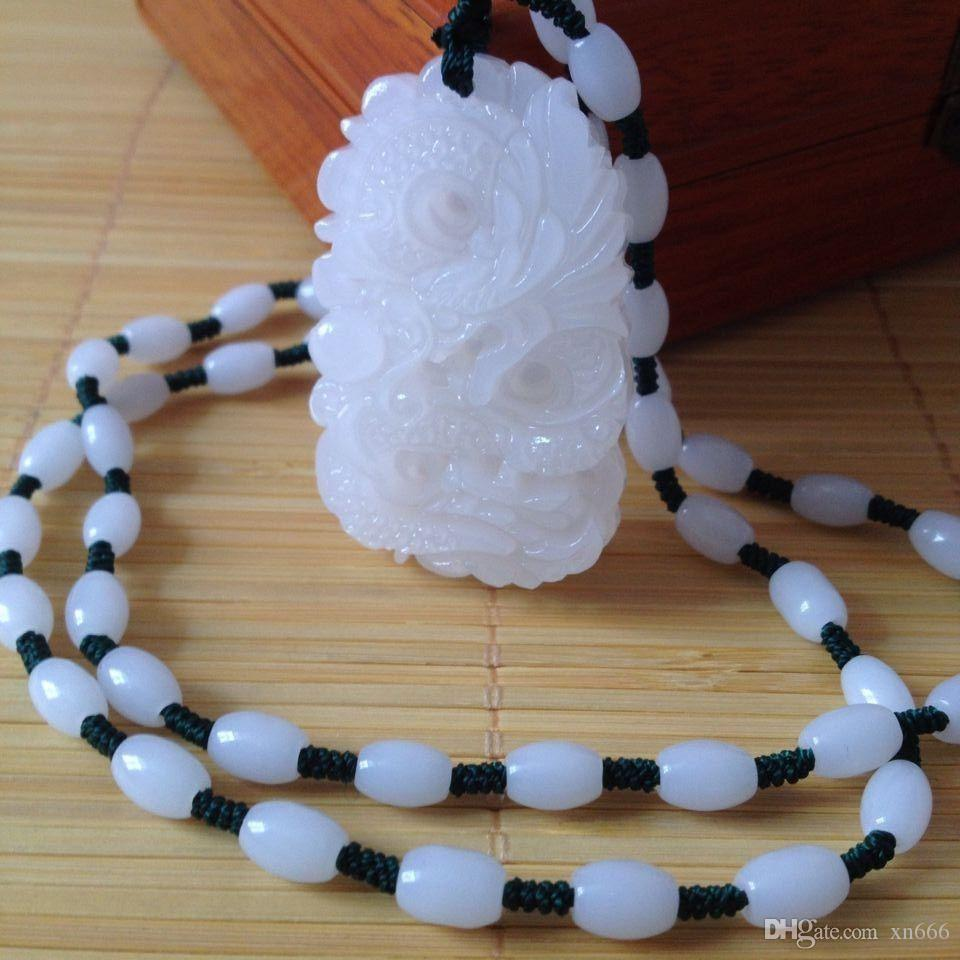 Dragon-Free Necklace/%  S Natural Green Hand-carved Chinese Hetian Jade Pendant