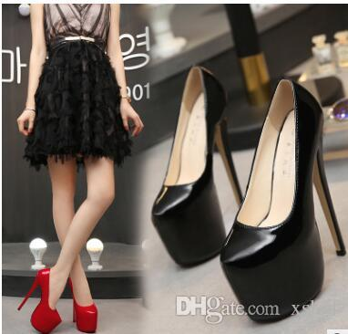 Summer Autumn Pumps Round toes Platform Pumps slip on 18cm heel Sexy High heels big size 35-44 solid 4 colors Party shoes