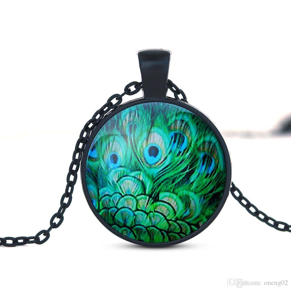 New Fashion Crystal Necklace With Animal Pattern Charm Handmade Unique Art Peacock Wiggling Feather Necklaces Wholesale Jewelry Gift