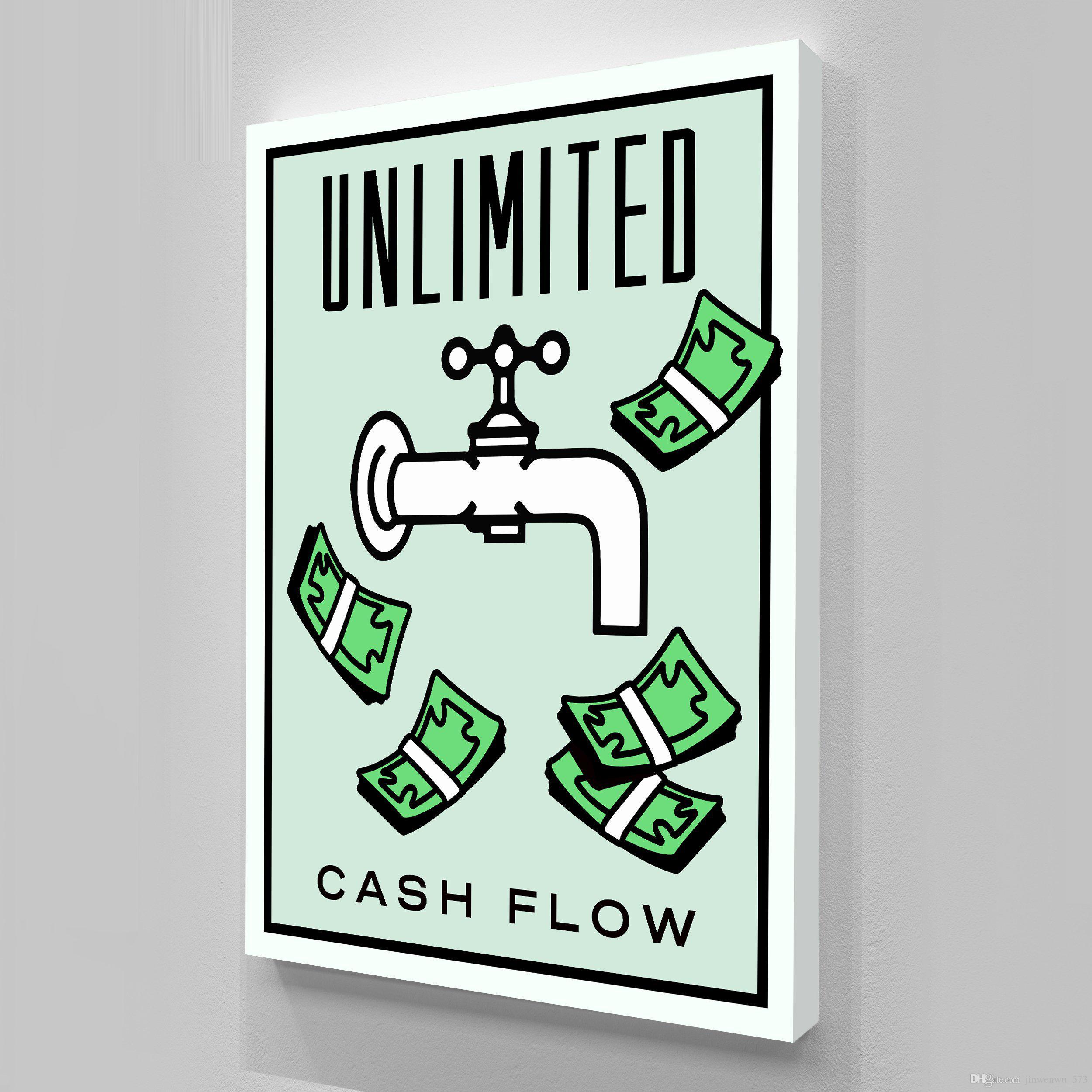 """Unframed / Alec Monopoly """"Cash Flow"""", HD Canvas Print decoración del hogar arte de la pared pintura, cultura del arte de la oficina"""