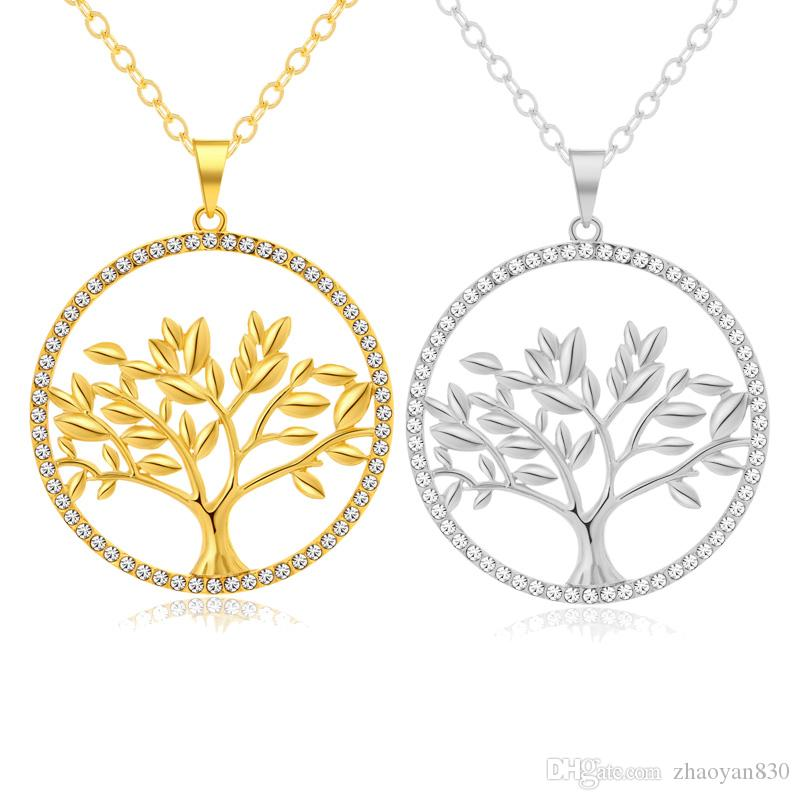 Vintage style woman's long chain Tree Of Life Round big Pendant Necklace for Gold/Steel color gilrs Lucky tree Jewelry Gift