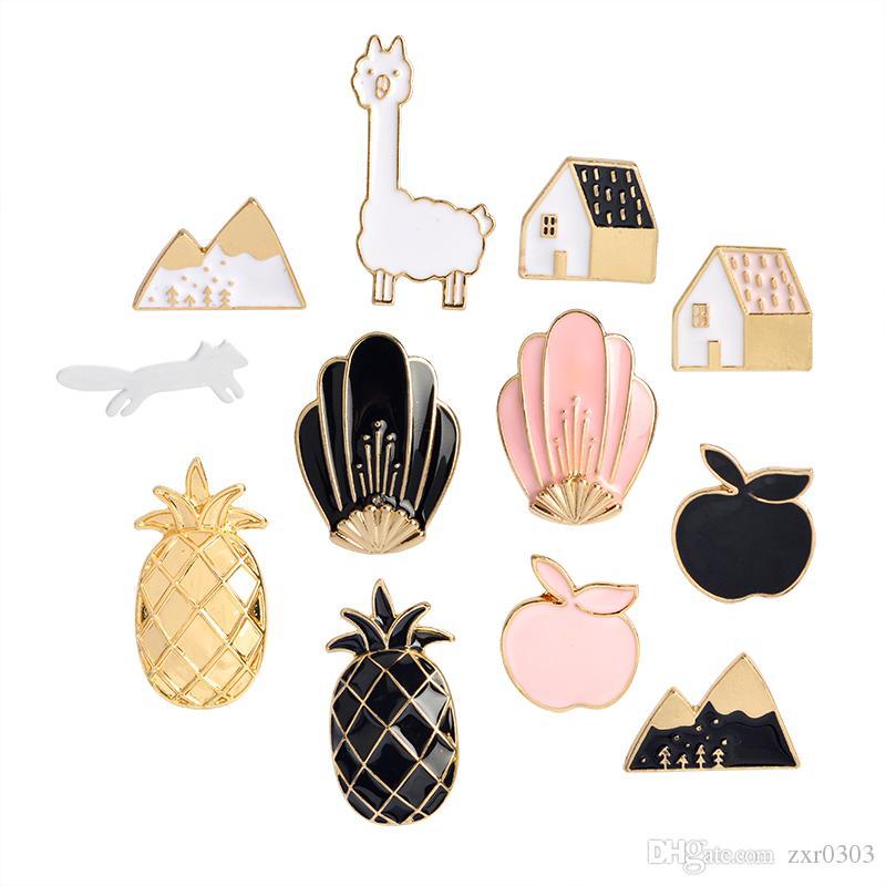 Preto Rosa abacaxi Apple House Fox Snow Mountain Shell Broche do botão pinos Denim Jacket broches Pin do emblema dos desenhos animados jóias de Moda