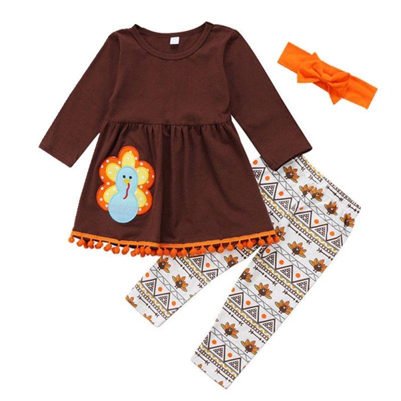 새로운 추수 감사절 어린이 아기 소녀 복장 귀여운 터키 탑스 드레스 + 인쇄 긴 바지 의류 세트