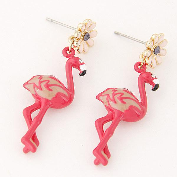 In Competitive Products Fashion Concise Beautiful Flame Bird Red-crowned Crane Ostrich Temperament Ear Nail Earrings