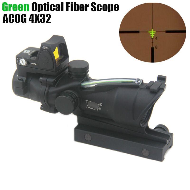 التكتيكية ACOG 4X32 الألياف مصدر الأخضر الألياف البصرية نطاق ث / RMR مايكرو ريد دوت ملحوظ النسخة الأسود
