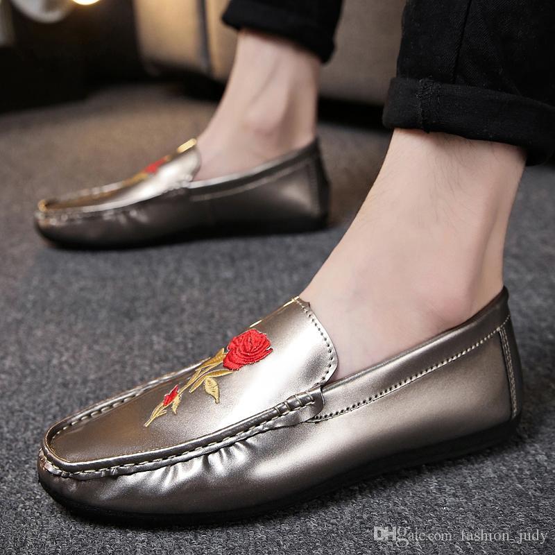 Acquista Mocassini Moda Uomo Fiore Rosa Stampato Scarpe Casual Da Uomo Scarpe Da Guida Il Tempo Libero A $21.14 Dal Fashion_judy | DHgate.Com
