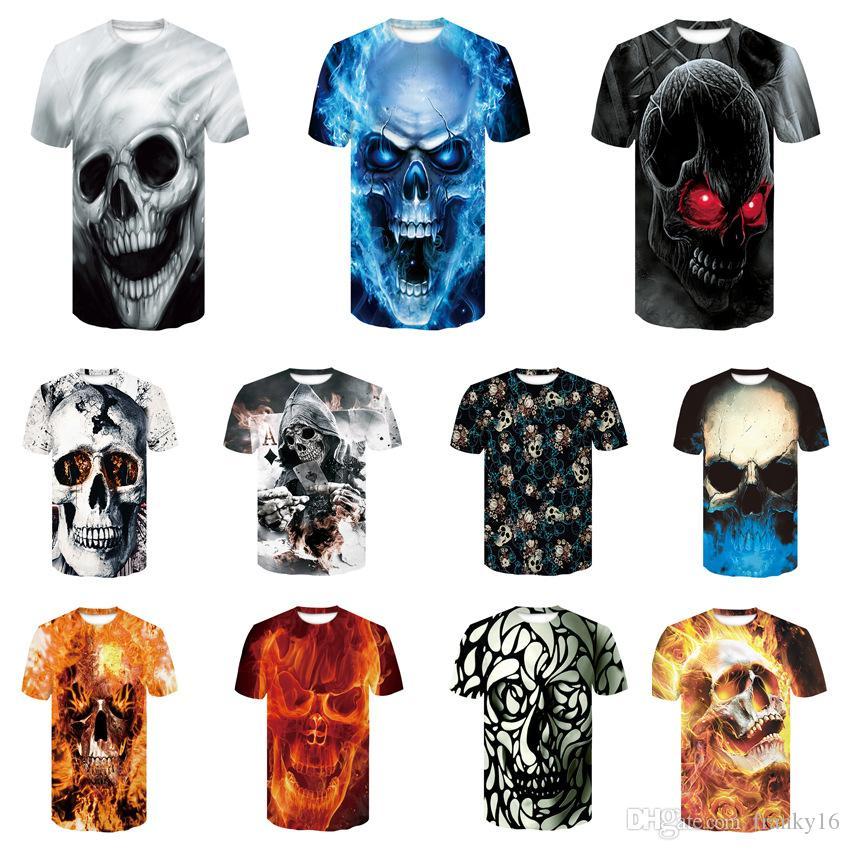 27 T-shirt noir blanc 3D crâne T-shirt à manches courtes