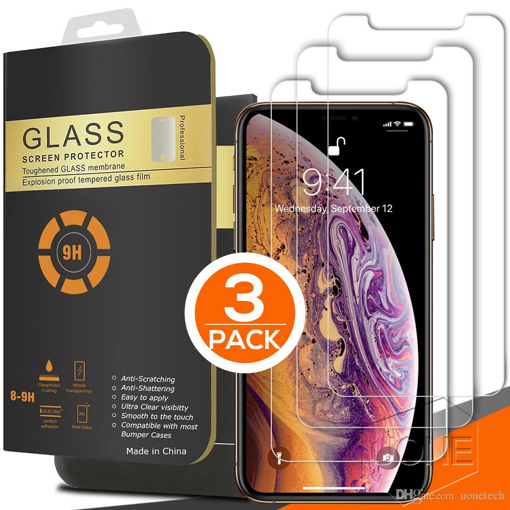 3 Packs Pour Iphone 12 NOUVEAU PRO MAX 11 X XR XS MAX en verre trempé de protection écran 0.26mm 2.5D ARRONDI 8plus pour iPhone 6 7 8 plus 6S