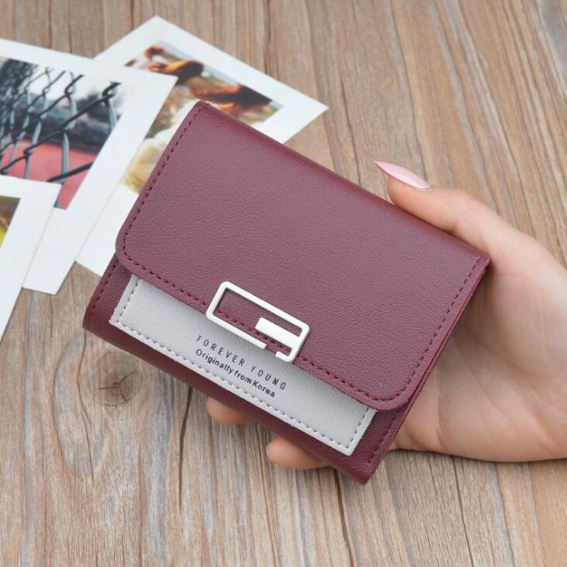 Portafoglio donna dolce Portafogli moda piccola per portamonete portamonete portamonete in pelle PU portamonete 3 piega per donna