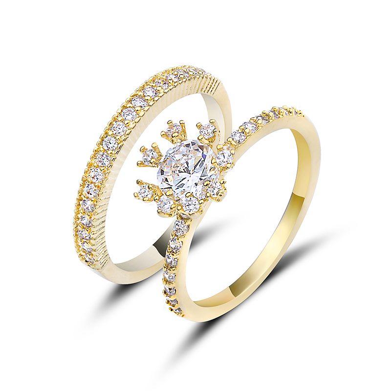 Acheter Bijoux De Mariage Femme Bagues Zircon Set Or Couleur Clear Cz Cristal Flocon De Neige En Forme De Bague De Cocktail Pour Les Femmes Bijoux