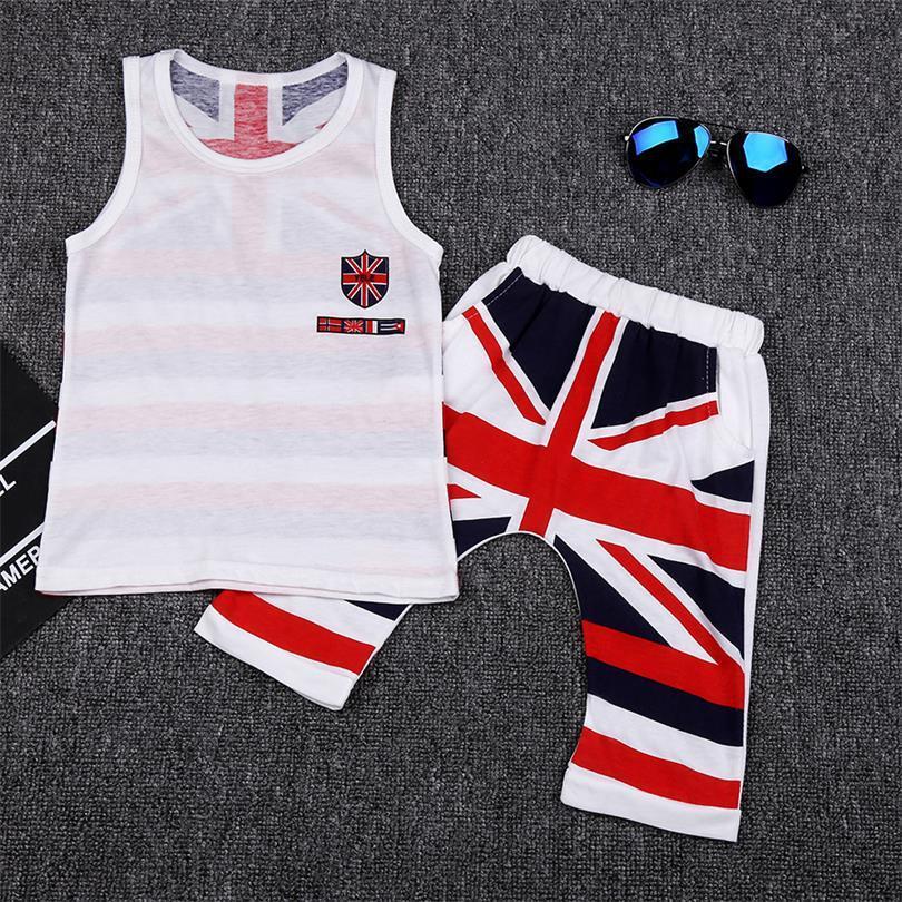 95ff217debac4 2019 Fashion Summer Baby Boys Clothes Sets Kids Sport Suits Flag Sleeveless  T Shirts Baby Clothing Vest + Pants Shorts Singlet From Brocksbros, ...