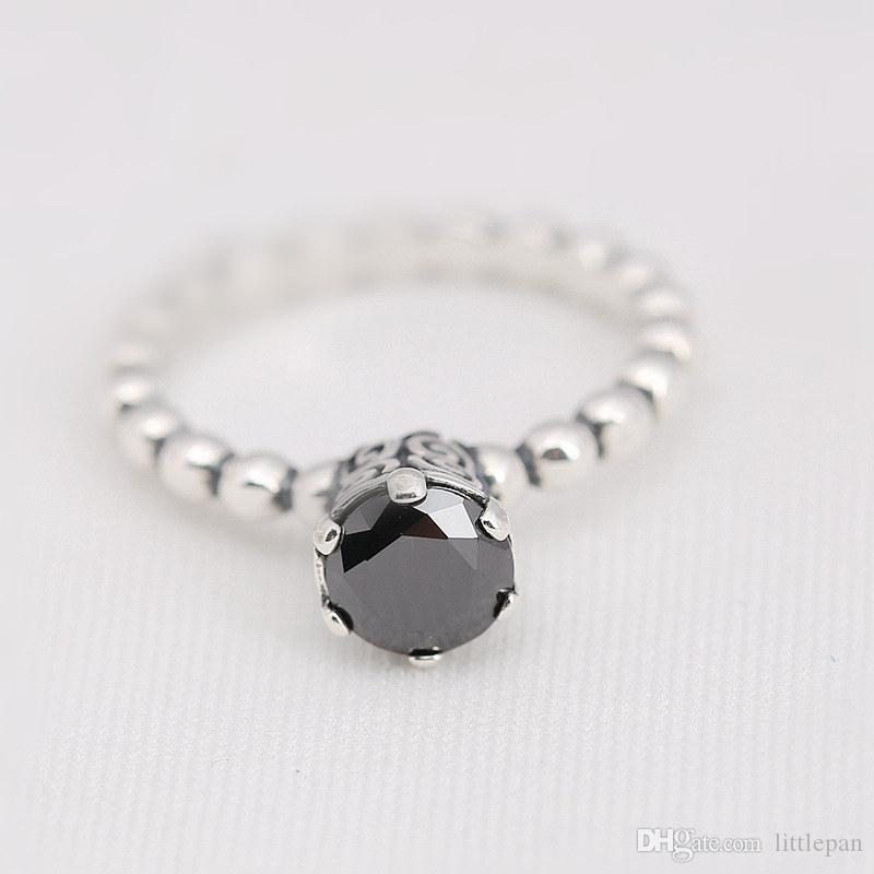 Manual Mosaic Black CZ Charm Ring Size Marked Solid 925 Sterling Silver European Style Jewelry Findings For Pandora