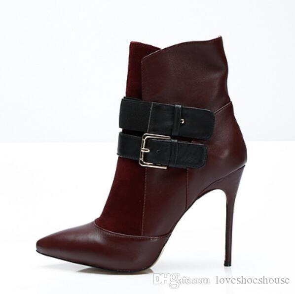 2018 nuove donne stivali stivaletti in pelle scarpe a punta mujer botas scarpe da festa vino rosso patchwork stivali donne