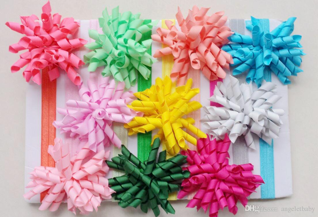 50pcs baby skinny soft iridescent hair band with curly ribbon Korker Hair clip bows girl headband corker headwear accessories PD012