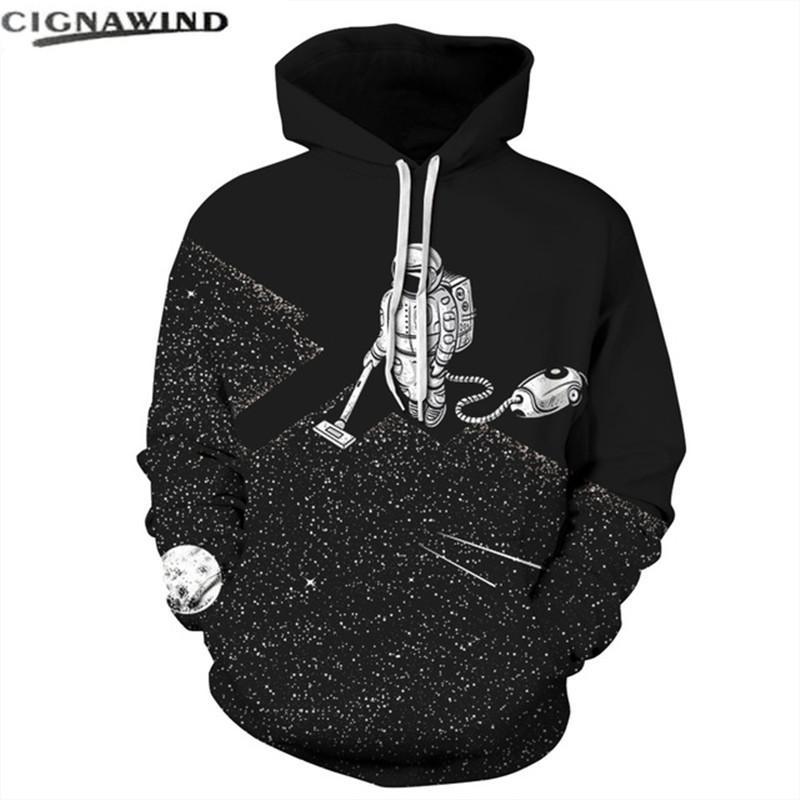 Hip Hop Herbst Winter Hoodie Thin Pocket Hoodies Unisex 3D Raum Staubsauger Astronaut Print Hooded Sweatshirt Herren Tops