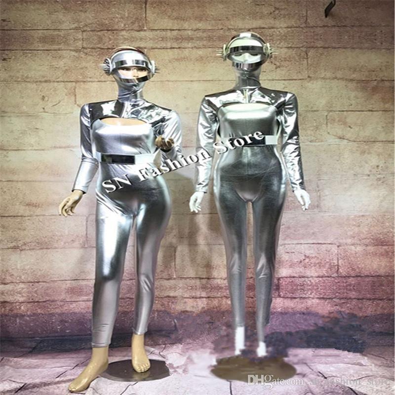 DC08 Silver Space robot suit ballroom dance singer stage show wears clothe party club catwalk model performance dresses bar club skirt dj