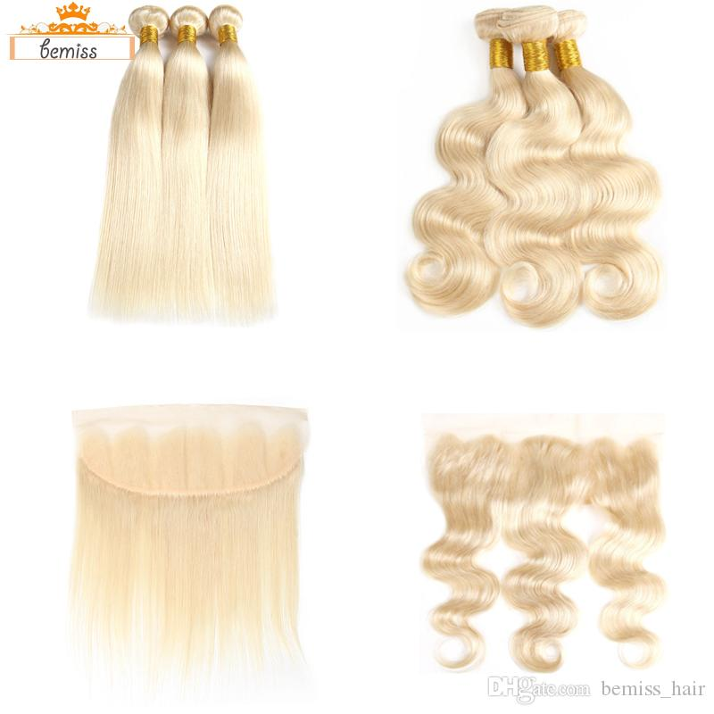 613 Straight Body Wave Human Hair Weaves Unprocessed Brazilian Human Hair 613 Blonde 3 Bundles with Frontal Closure DHgate Best Selling Item