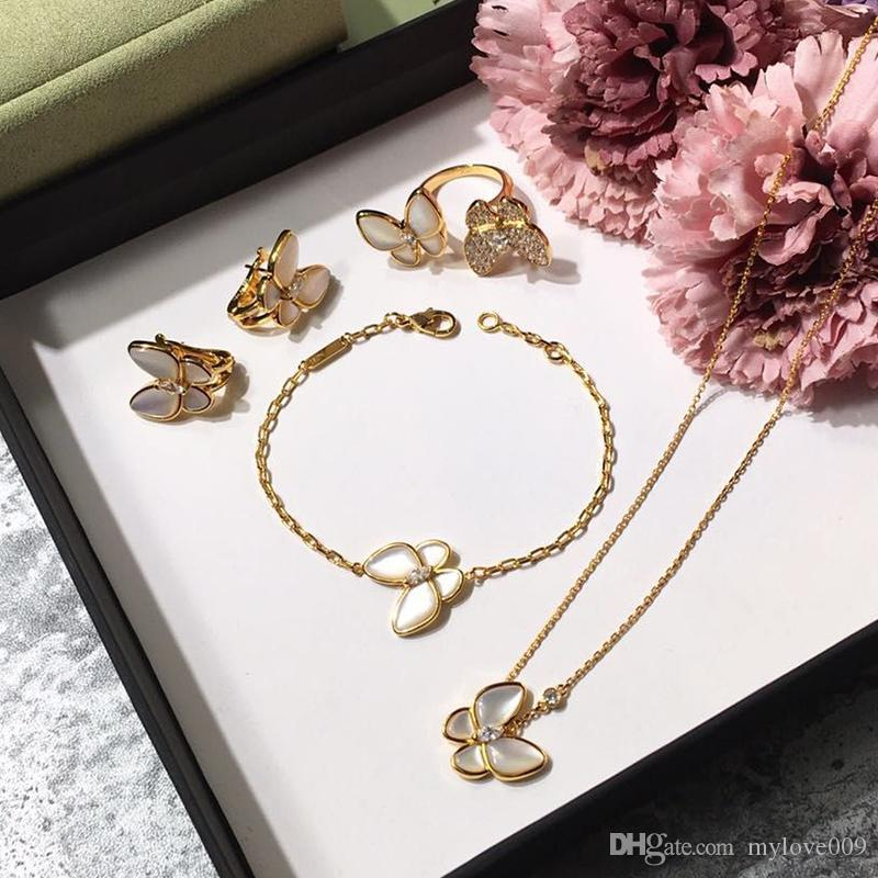 Brand 925 silver four leaf flower jewelry set for women wedding necklace bracelet earrings ring Butterfly clover mother shell CZ jewelry