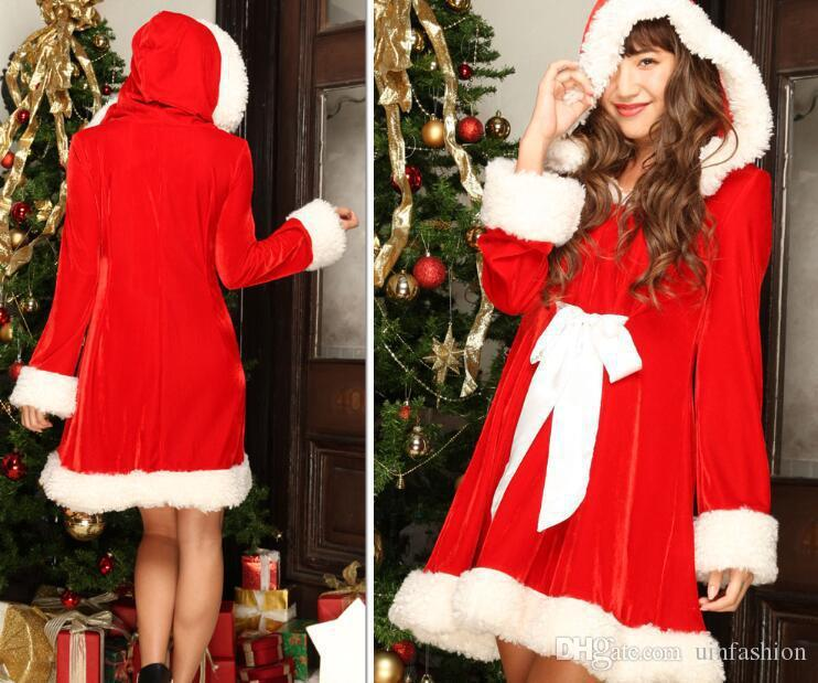 Women Christmas Dress Sexy Red Costumes Santa Claus Adults Sexy Cosplays For Party Performance Costume Cosplay Dress