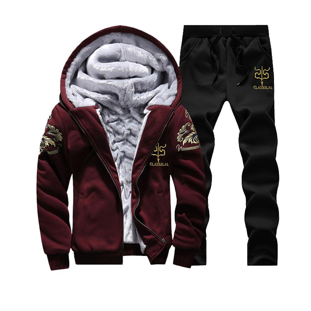 Quente FeiTong Homens Treino Set Hoodie do inverno do velo Zipper camisola e calças Casacos Brasão survêtement Homme fato de treino