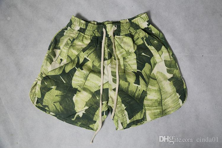 Męskie Zielone Liście Drukowane Casual Board Shorts Mężczyzna Plaża Spodenki Sportowe Zrelaksowane Hip Hop Streatwear Darmowa Wysyłka