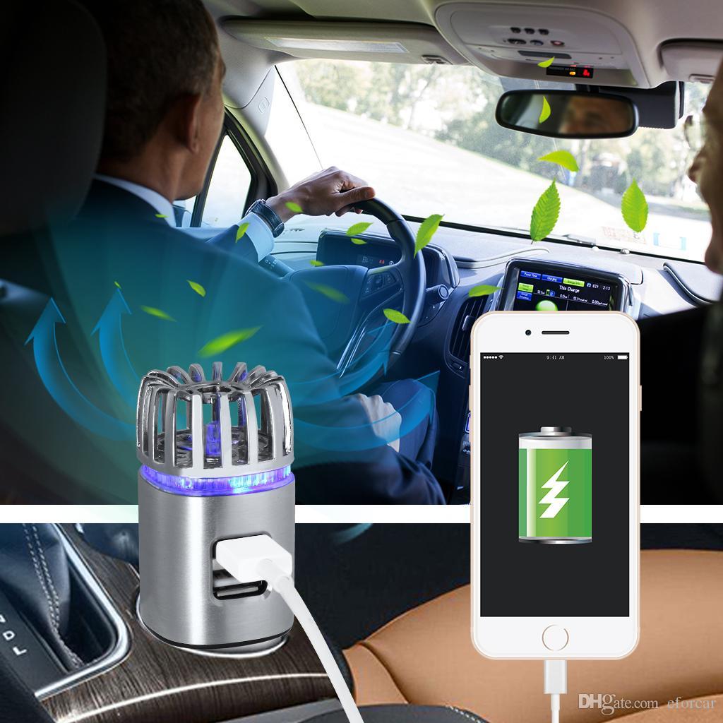 2.0 Potente purificador de aire iónico para autos Purificador de aire para autos Olores de humo Limpiador para limpiar purificador de ozono para automóvil con doble cargador USB
