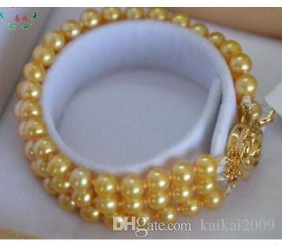 Браслет из бисера на руку 9-10 мм Южное море Золотой жемчужный браслет 7,5-8 дюймов 14 К Золото