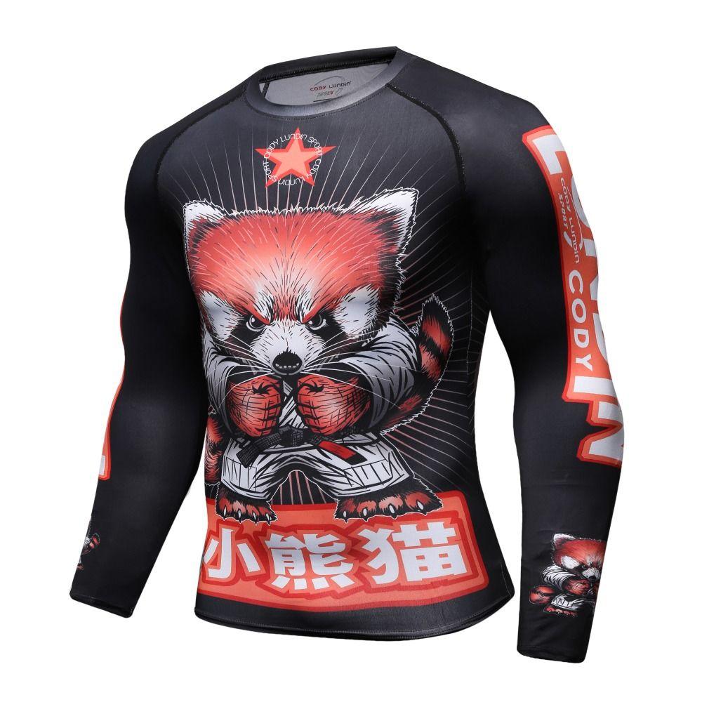 Camicia a compressione da uomo Rashguard Manica lunga Stampa 3D Maglietta Jiu Jitsu MMA Fitness Maschile Bodybuilding Quick Dry Crossfit Tops
