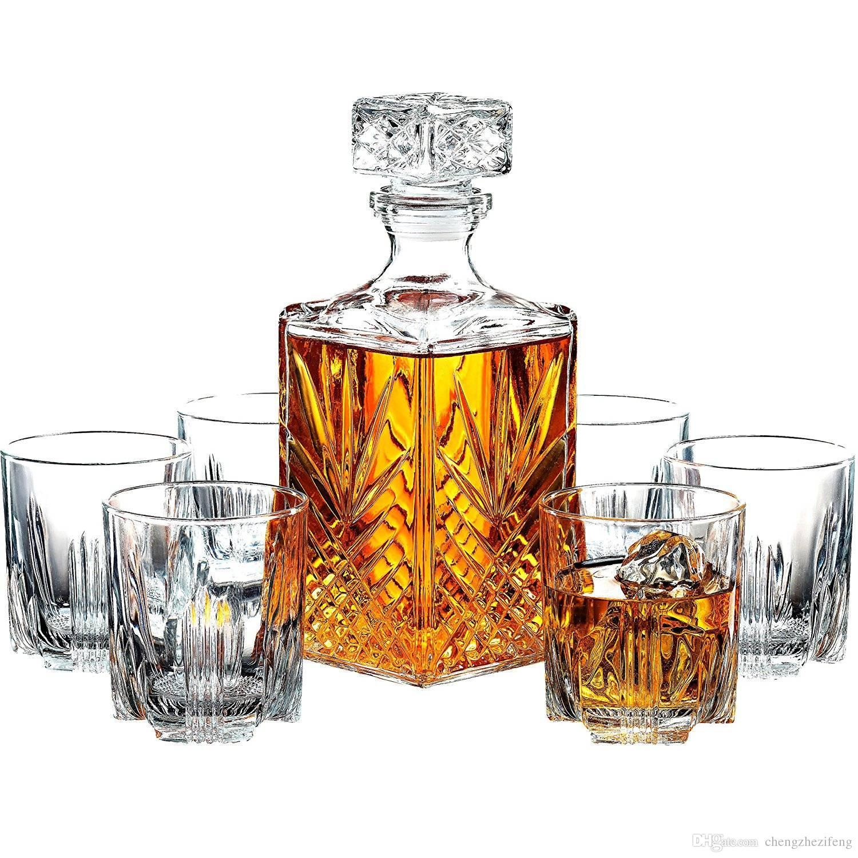 Decantador de vidrio artesanal italiano de 7 piezas y vasos de whisky Set decantador de whisky con tapón adornado y 6 vasos de cóctel