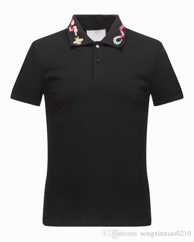 2018 новая мода дизайнер Марка мужская повседневная хлопок змея печати с коротким рукавом футболки тонкий с тегами размер M-3XL