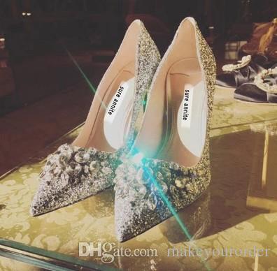 sliver fashion by handwork diamond sequins fine heel high pointed toe sliver bridal wedding dress party shoes 482