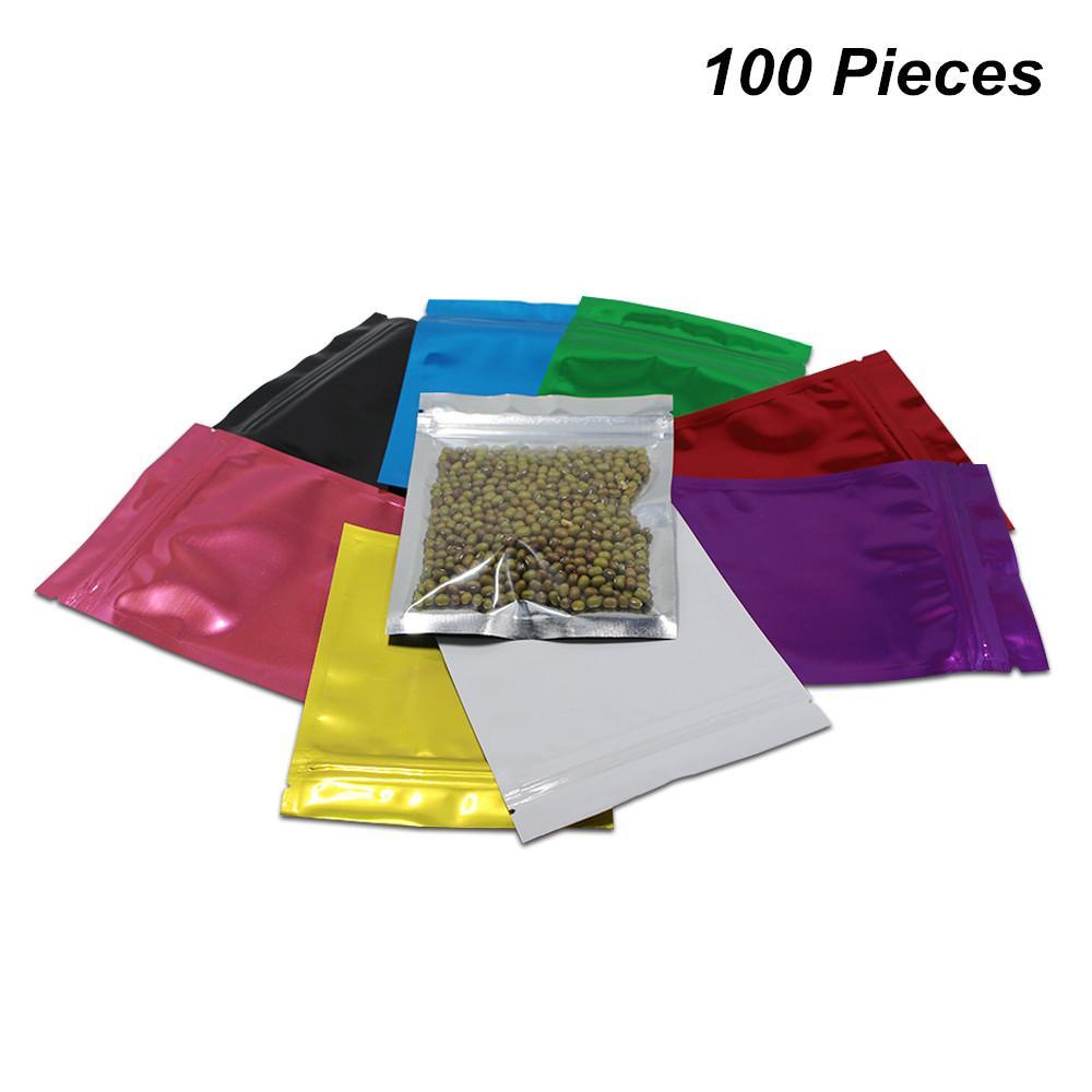 10.2x12.7 cm 100pcs / Lot colorido Reclosable Mylar Foil cheirar à prova de rasgões Food Storage Bag entalhes folha de alumínio Seal calor Sample Packet Pouch