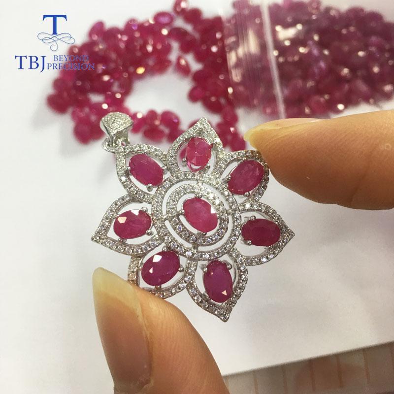 TBJ, doğal yakut ve Iolite taş kolye kolye, nişan hediyesi kadınlar için en iyi hediye, parti günlük aşınma ile S925 gümüş kolye