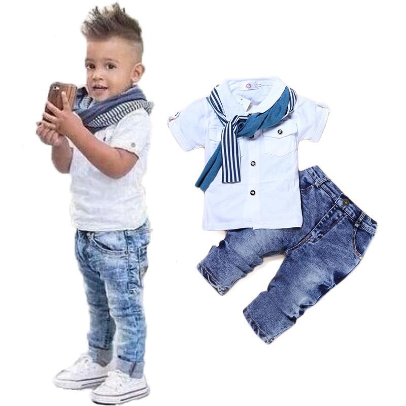 طفل رضيع ملابس عادية تي شيرت + وشاح + جينز 3 قطعة ملابس الطفل مجموعة الصيف الطفل أطفال زي للأولاد طفل الفتيان الملابس