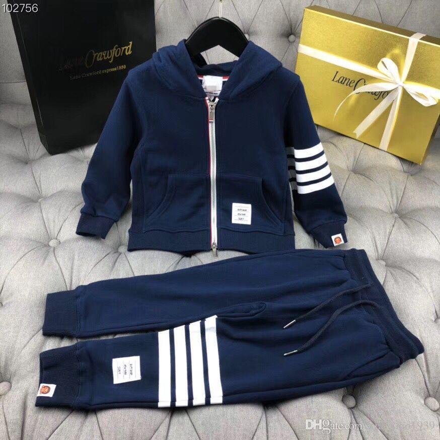 Meninos de alta qualidade set 2018 primavera outono Bebê Casual agasalho Roupas Crianças Listrado Hoodies + calças 2 Pcs bonito conjunto de Algodão
