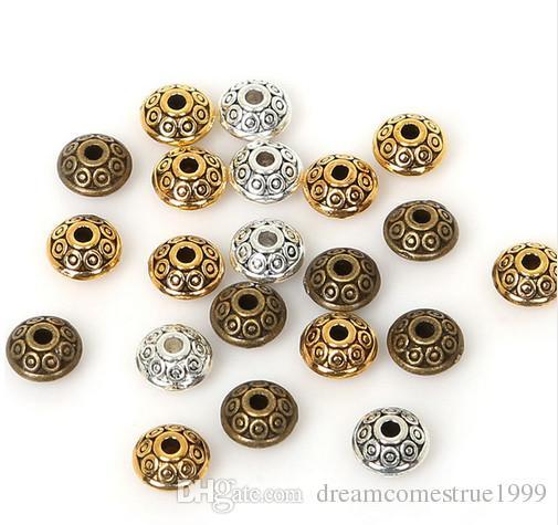 300PCS / الكثير سبائك البرونز العتيقة / الفضة / الذهب UFO الشكل الخرز سحر لصنع المجوهرات 6MM