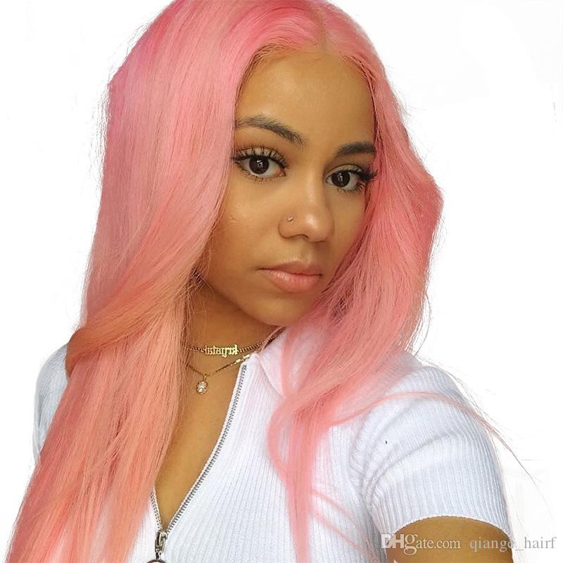 Straight 150% Density Pink Full Lace Human Hair Wigs for Black Women Peruvian Virgin Human Hair Lace Front Wigs