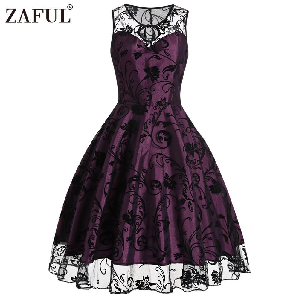 Al por mayor-ZAFUL retro vintage mujeres midi dress 2017 verano sin mangas de malla o cuello púrpura vestido de fiesta robe femme elegante vestido de fiesta