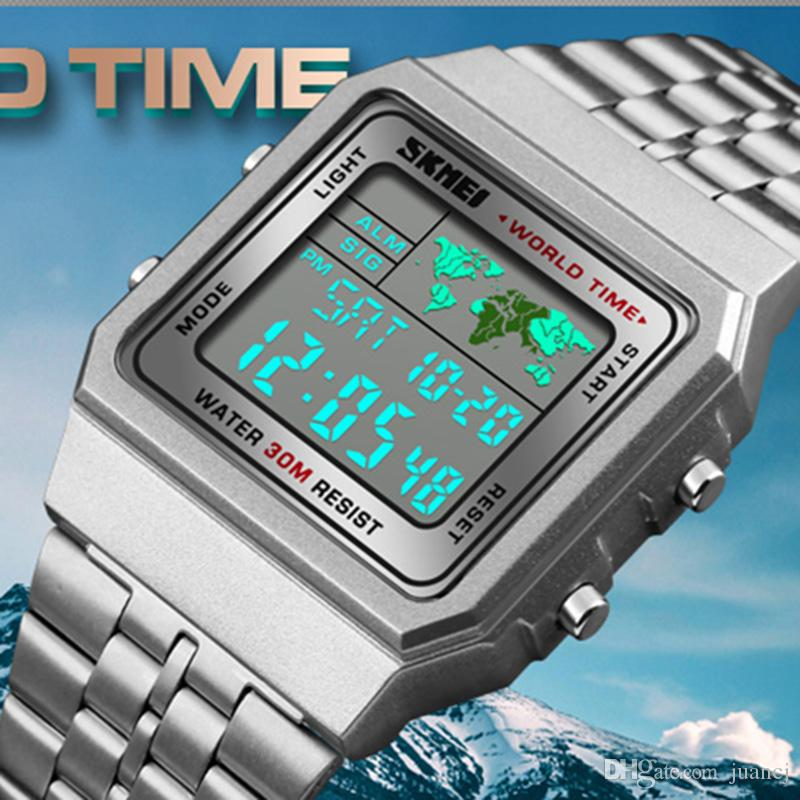 SKMEI Mens LED Digital Watch Sports Watches Men Relogio Masculino Relojes Stainless Steel Military Waterproof Wrist Watches 1338