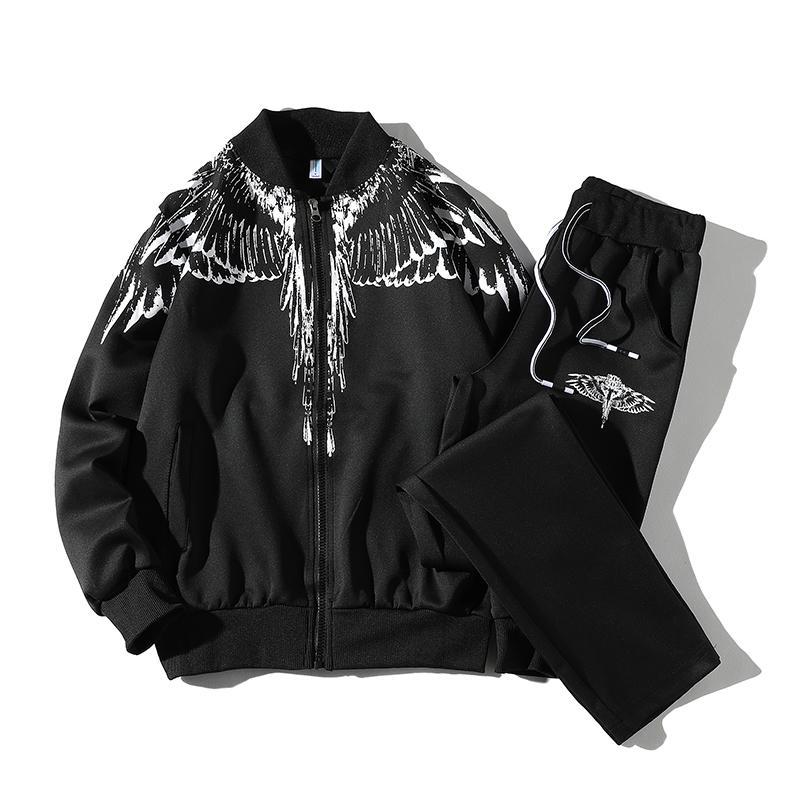 Мужчины осень устанавливает кофты + спортивные брюки новый мужской верхней одежды спортивная повседневная устанавливает мужчины большой размер кардиган спортивные костюмы размер 5XL