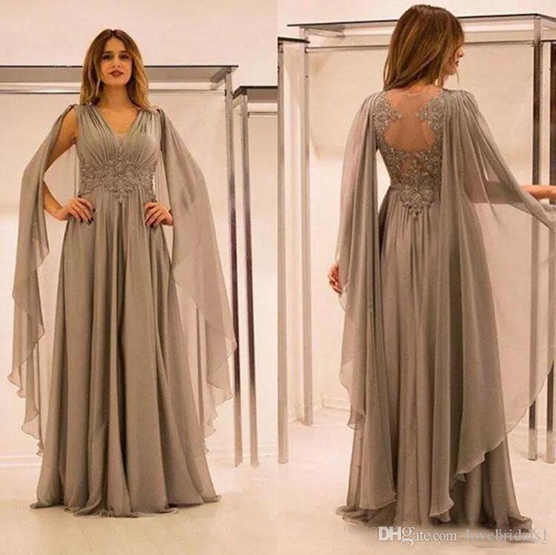 2019 Mère élégante de la mariée robes de mousseline d'illusion de mousseline de soie avec dentelle applique perles frucled v col mère maison robe plus