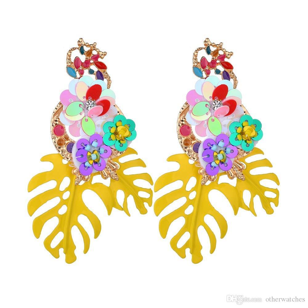 Модные тенденции серьги красочные цветы diamond