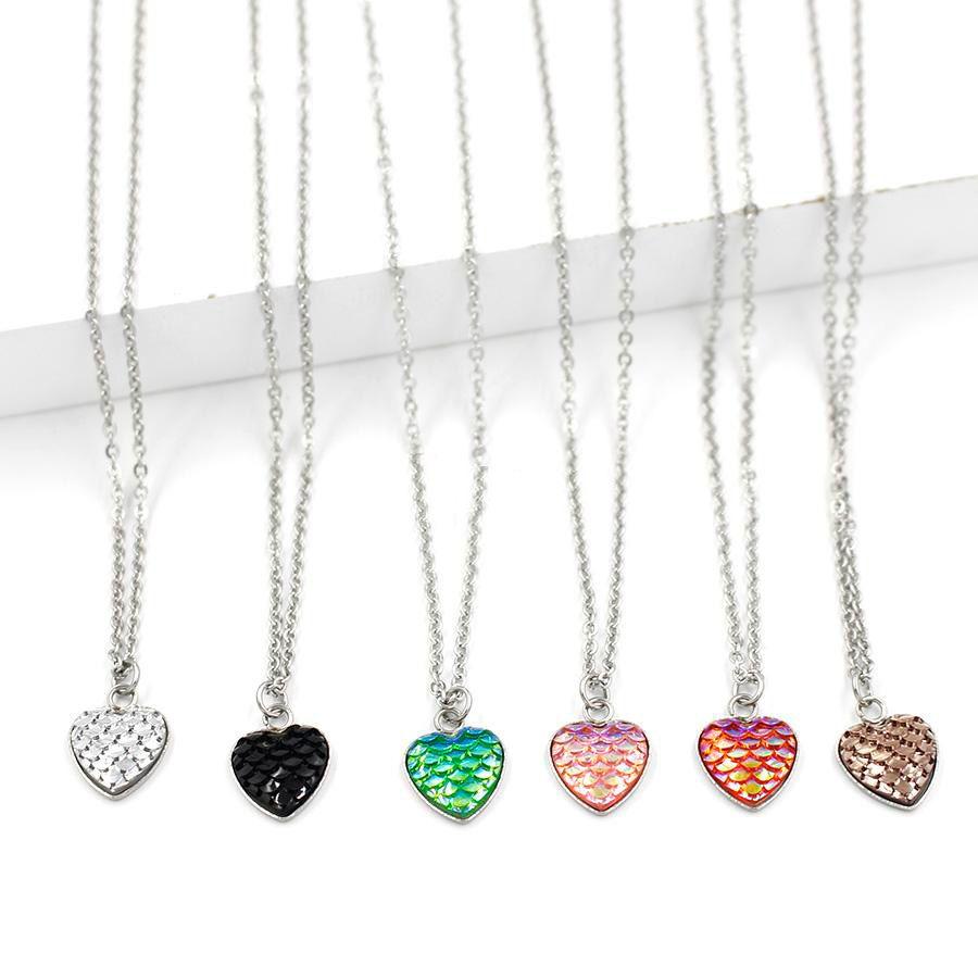 Gioielli Druzy Drusy collana Stainles acciaio donne 12 colori amore forma di cuore 12 millimetri Mermaid scala di pesci a sospensione