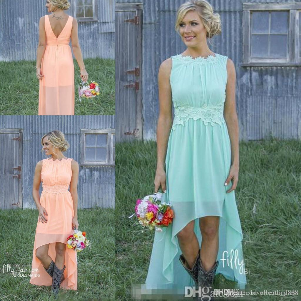 Modest Short Bridesmaid Dresses Lace Crew 2018 Chiffon High Low ...