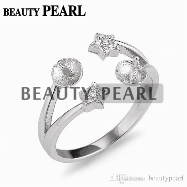 Two Little Star Ring Base with 2 Blanks 925 Sterling Silver Pearl Jewelry Settings 5 Pieces