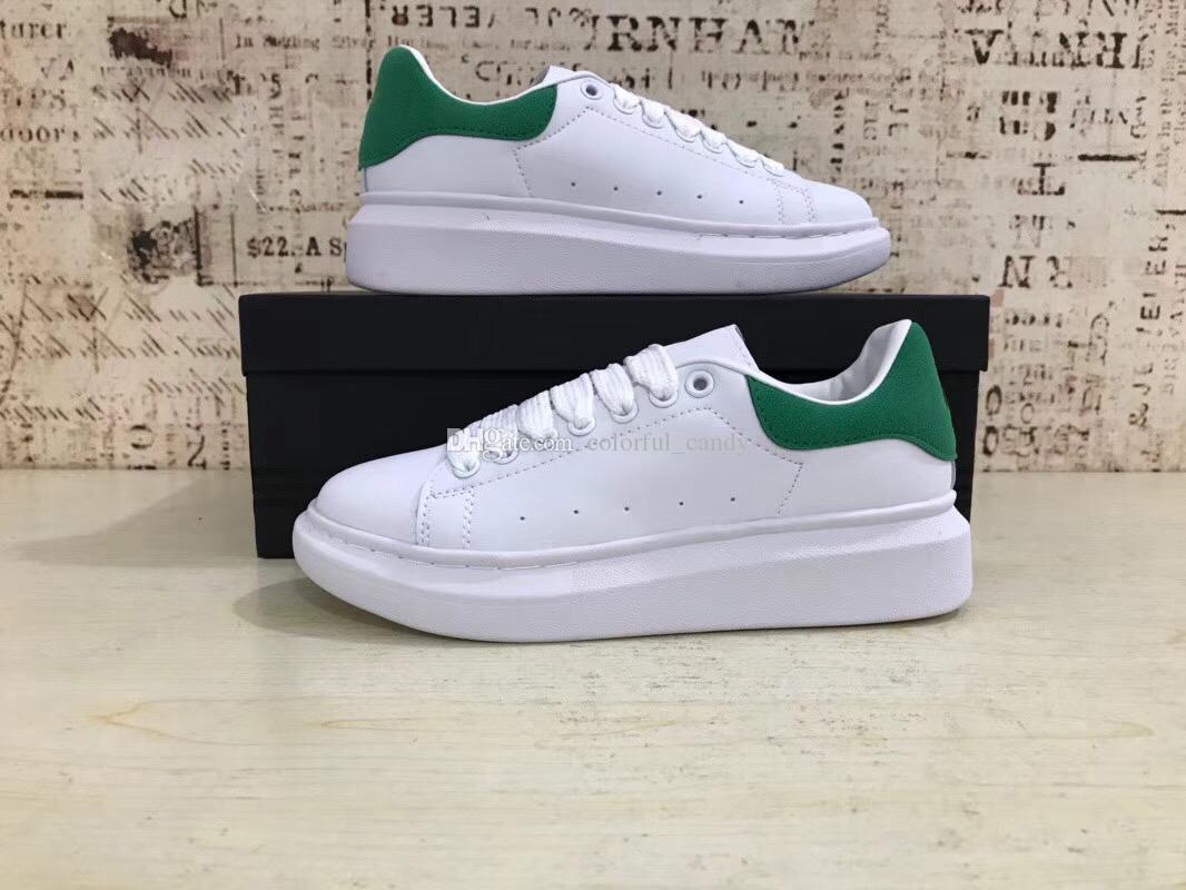 2018 Yeni Mens Womens Lüks Beyaz Deri Yeşil Geri Platformu Ayakkabı Düz Rahat Ayakkabılar Lady Siyah Pembe Kırmızı Altın Kadınlar Beyaz sneakers 35-43
