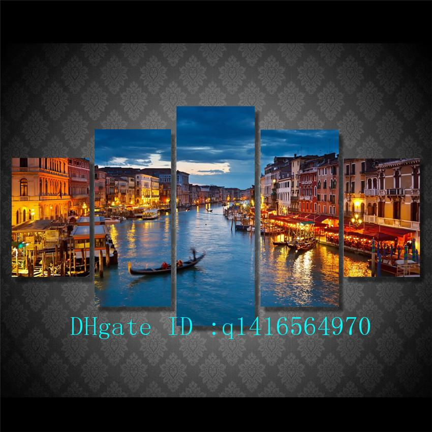 Venice Water City Boat Light,5 Pieces Canvas Prints Wall Art Oil Painting Home Decor /(Unframed/Framed)