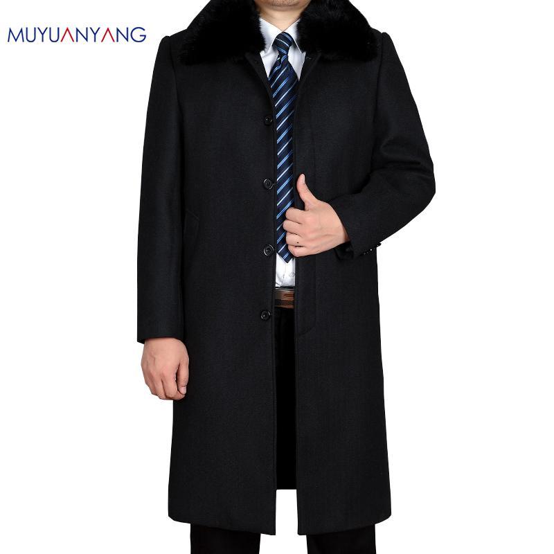 Mu Yuan Yang 50% Off Men' s Wool Blend Coats Casual Wool Coat Men Jacket Plus Size XXL XXXL Mens X-Long Woolen Coat Clothing