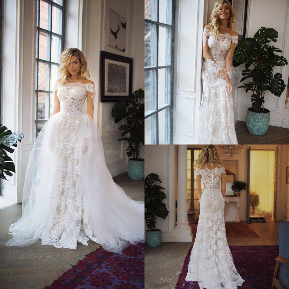 Sexy sirena vestidos de novia con falda desmontable de encaje fuera del hombro apliques precioso país vestido de boda barrer tren más tamaño vestido