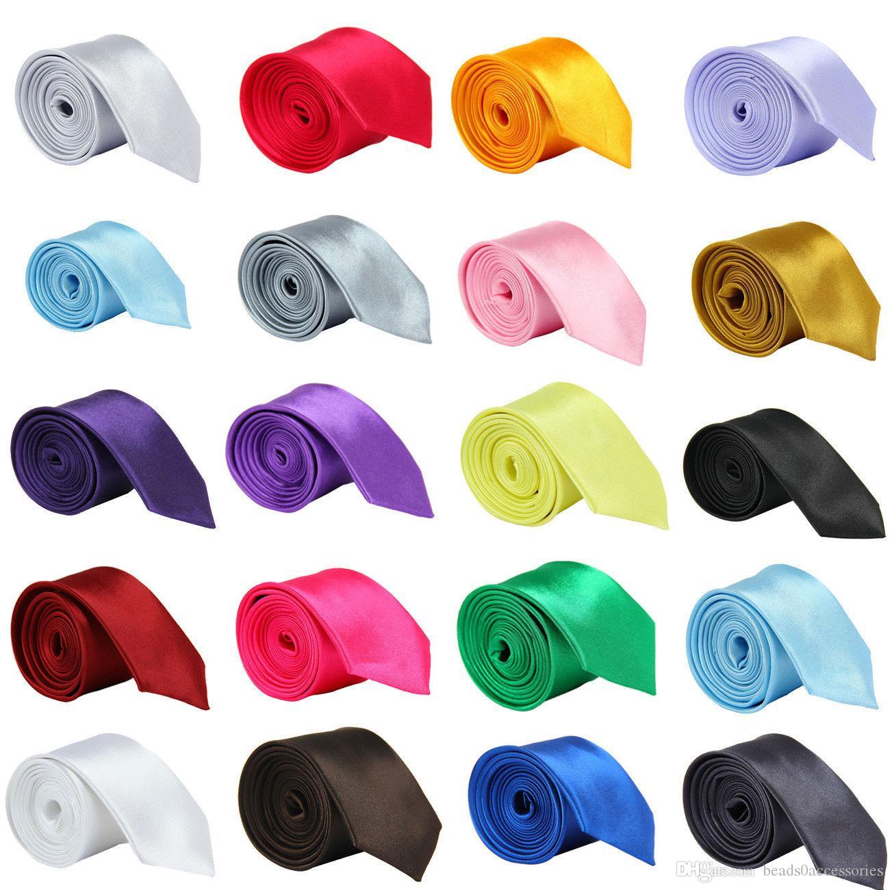 أزياء الرجال النساء نحيل بلون عادي الساتان البوليستر الزفاف الحرير التعادل ربطة العنق العلاقات الرقبة 20 الألوان 5 سنتيمتر x145 سنتيمتر